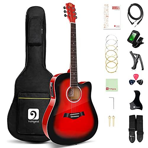Vangoa Guitarra Electro Acústica, 41 Pulgadas Guitarra Eléctrica Acústica 4 Band EQ Guitarras Principiantes con Kits de Inicio, Rojo