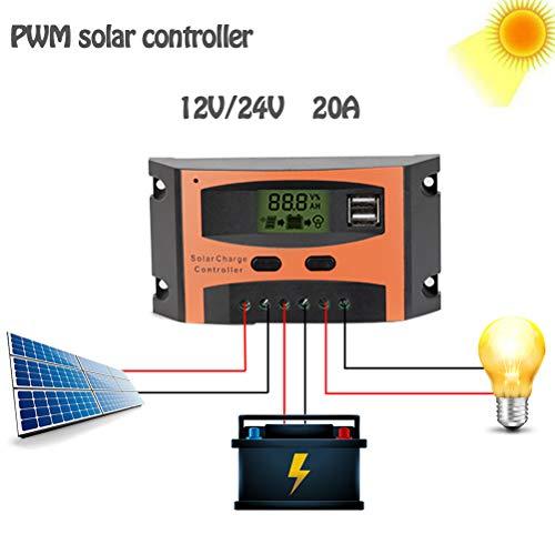 PWM 20A Solar Laadregelaar, 12V 24V LCD Display zonnepaneel Dual USB-poort, batterijlader Intelligent Straatverlichting Verlichting,Orange