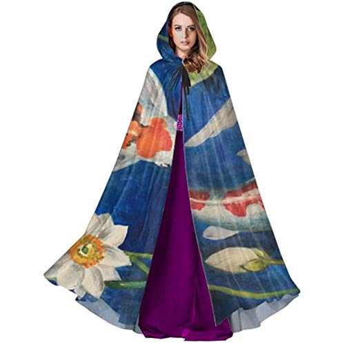 Zome Lag Deluxe omhanging, hekmagische omhanging, kap met capuchon, vampierkostuum, bonte koi-vis in een vijver-capuchon-omhanggordel