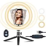 VicTsing 10' Selfie Ring Light avec Trépied Réglable 360°, Anneau Lumineux avec Télécommande & Support Mobile, 3 Modes 10 Luminosité pour Photographie/Maquillage/Diffusion en Direct/Youtube/Vlog