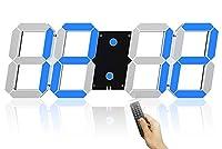 壁掛け時計 デジタル 大型 くり抜く3D led wall clock 時計 LEDデジタル 目覚まし時計 時計 壁掛け 置き時計 置時計 おしゃれ 多機能 明るさ調整 スヌーズ アラーム 12H/24H時間表示 立体 (Color : Blue(A))