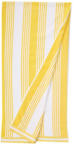 AmazonBasics Oversized Premium Beach Towels - Yellow Classic Stripes, 2-Pack