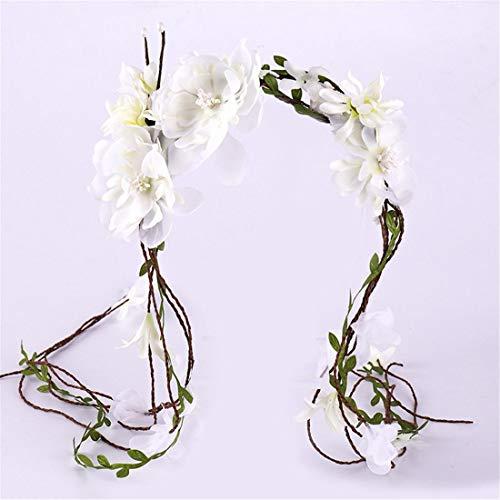 MIMIOOORE Blumen-Kopfbedeckung, Kleid-Leistungs-Kranz, Kopfbedeckung (Color : White)