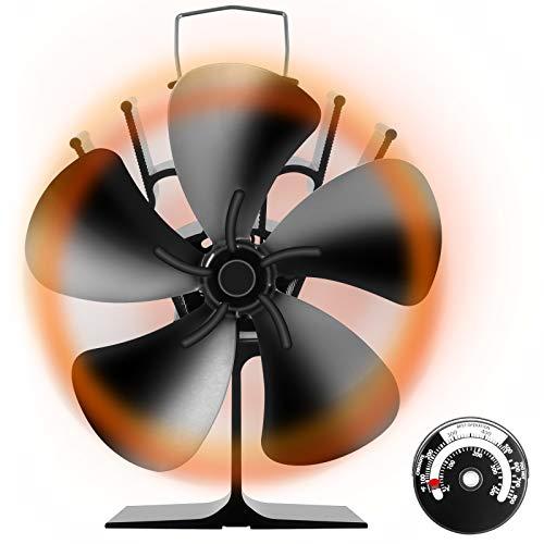 ストーブファン Snople 火力ファン 5つブレード エコファン 火力熱炉ファン ミニラウンド型 静音 省エネ ストーブファンヒーター 薪ストーブ/暖炉用品 スチール製 ストーブ 熱供給用品 暖房用 温度計付き (薪ストーブファン)