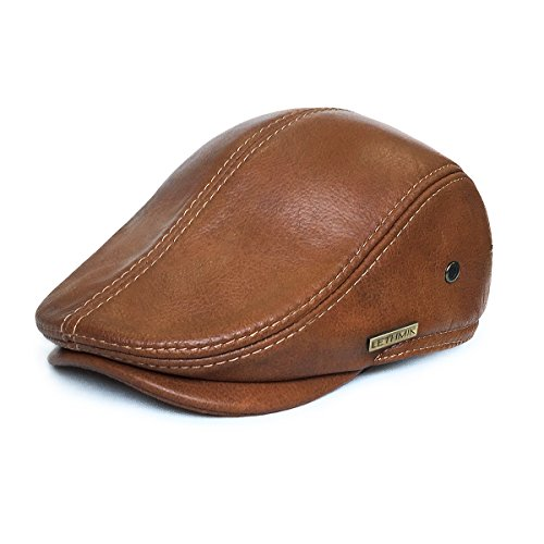 LETHMIK Men's flat leather cap with visor, ideal for wearing with jeans for hunting, driving etc., Men, MZ0171OR3, Orange, XX-Large (7 1/2-7 5/8) 60 - 61 CM