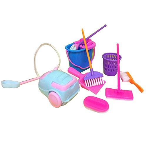 Originaltree Juego de 9 piezas de herramientas de limpieza para escoba, juguete de simulacin, minicepillo de limpieza de color aleatorio