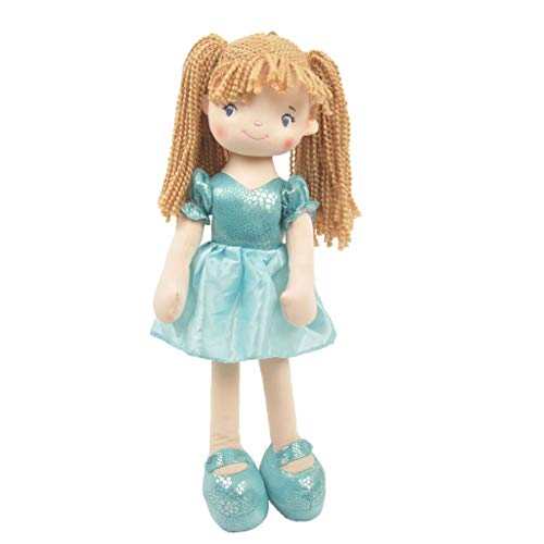 Linzy Toys, Addy Rag Doll, Soft Plush Doll, Turquoise, 18 inches