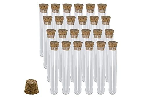 Lsooyys 10 tubos de ensayo de fondo redondo de plástico transparente con tapones de corcho vacíos tubos de té perfumados para equipos de laboratorio y almacenamiento de confitería, especias, líquidos