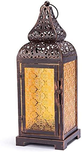 Farol de vela de color bronce de vidrio viejo marroquí viento titular de la vela estilo europeo mediterráneo decoración del hogar artesanías retro de hierro (color: bronce, tamaño: 14 x 14 x 39 cm)