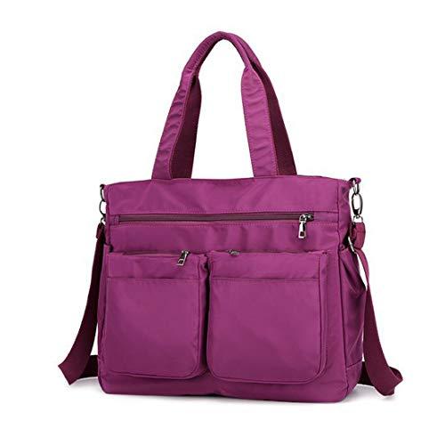 Bandolera para mujer, bolso de nailon con múltiples bolsillos, bolsas de hombro grandes para viajes, trabajo y uso diario., color Morado, talla Large