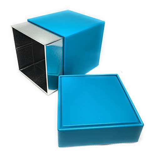 Lata de lata con tapa, 7,8 x 7,8 x 11 cm, color turquesa, lata para té, café, lata de hojalata, lata de almacenamiento universal