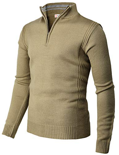 H2H Mens Casual Slim Fit Pullover Sweaters Knitted Henley Long Sleeve Thermal SANDBEIGE US L/Asia XL (CMOSWL044)
