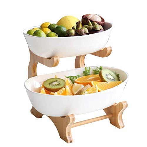 WYYAF fruitbord, fruitschaal, Japanse keramiek fruitbord dubbele fruitmand Home Decoration woonkamer tafeldecoratie fruitschaal fruitmand (kleur: grijs)