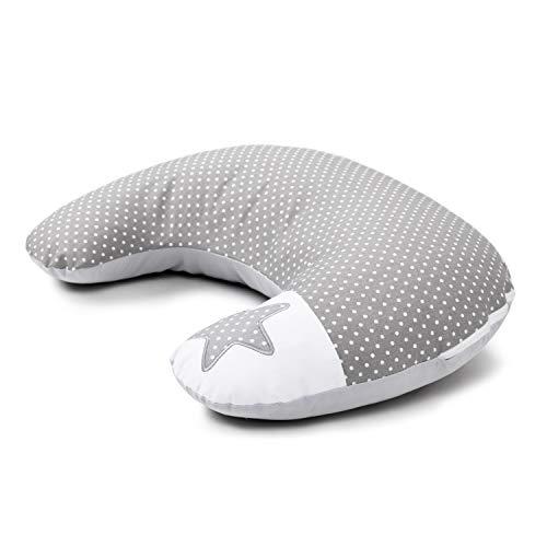 Amilian® Stillkissen mit Füllung für klein Baby Lagerungskissen baby Seitenschläferkissen Schwangerschaftskissen zum Schlafen Baumwolle inkl. Bezug (60x42 cm) pregnancy pillow grau S01 mit Stickerei