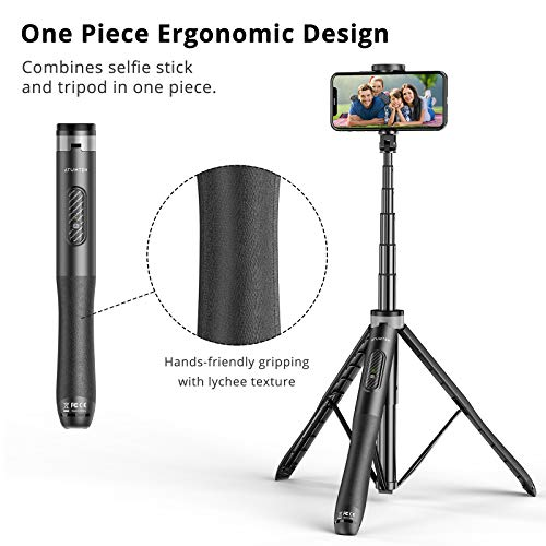 ATUMTEK-Palo-Selfie-Tripode-130cm--Palo-Selfie-para-Movil-con-Bluetooth-con-Aluminio-Resistente-y-Tripode-de-Patas-Antideslizantes-para-iPhoneAndroid-Grabacion-de-Videos-Vlogs-Directos-Negro