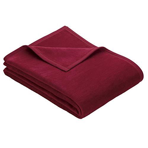Ibena Porto Kuscheldecke 150x200 cm - Wolldecke rot einfarbig, pflegeleichte Baumwollmischung, kuschelig weich und angenehm warm