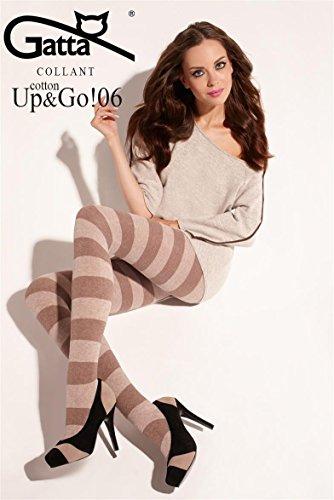 Gatta Fashion Cotton Up&Go 06 - gestreift-gemusterte blickdichte Strumpfhose aus Baumwolle - Größe 2-S - Grau