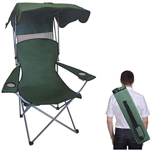 BESTHLS Camping Chairs Portable Quad Lawn Chair for Adults, Folding Recliner Chair with Shade and Cup Holder Outdoor...