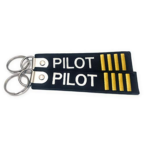 Premium Embroidered Pilot Luggage Tag - 4 Gold Stripes - Set of 2 - Aviamart