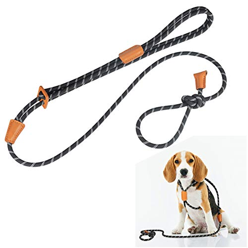 Dog Collars, Harnesses & leashes,Rope Slip Dog Leash and Harness in One Set for Small Medium and Large Dogs, Adjustable Nylon Rope Leash and Harness Set with Reflective Stripe