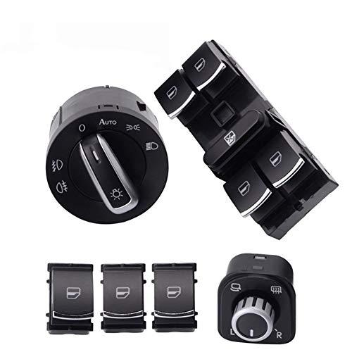 Interruptor de control de ventana 6pcs / set espejo de la ventana Interruptor de faros Ventana interruptor de botón luz de niebla Cabeza ABS for VW Jetta Golf 6 GTI 5 Tiguan Para ventanas de automóvil