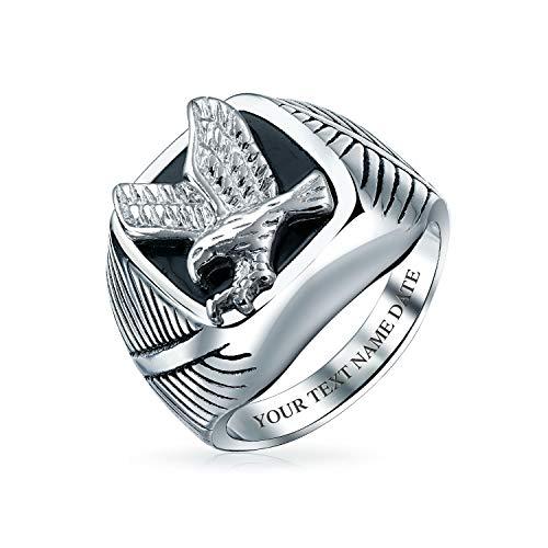Bling Jewelry Mens Gran declaración Negro patriótico EE.UU. Volar Americano Bald águila Cuadrada Anillo para los Hombres Plata Tono Acero Inoxidable Personalizado Grabado