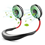 Hands Free Neck Fan,Mini USB Personal Fan Rechargeable,Headphone Design Pocket Fan with 3 Speeds Adjustable and LED Light for Travel Outdoor Office Home Sports