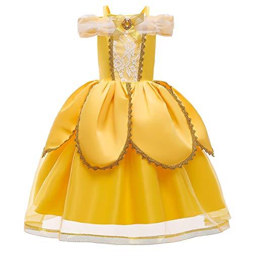 FMYFWY Nias Vestidos de Belle Disfraz de Carnaval Princesa Cumpleaos Traje de Halloween Navidad Ceremonia Aniversario Bautizo Fiesta de Cosplay Bella y Bestia Costume 6-7 aos
