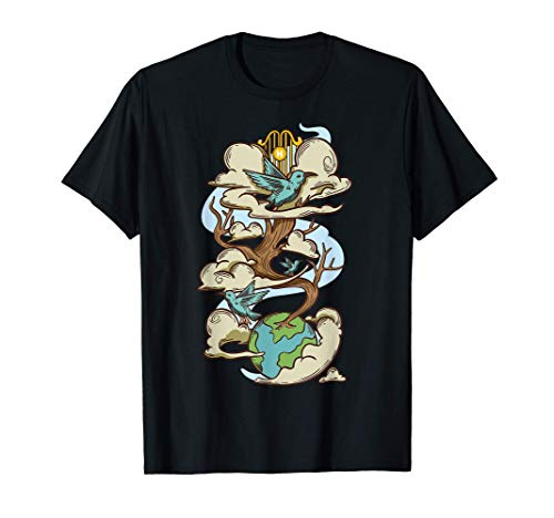 arbre qui pousse de la terre au ciel oiseaux et nuages T-Shirt