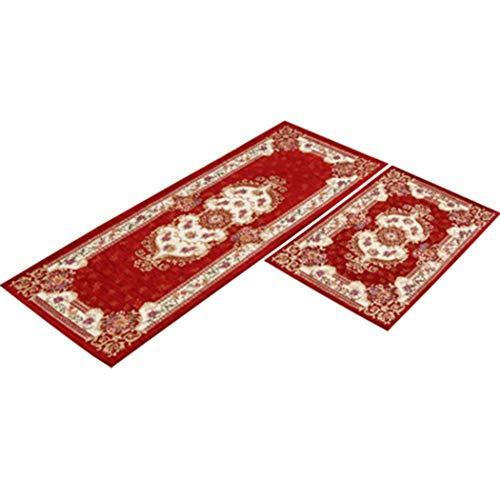 Teppichboden Küche Bodenmatte Lange Griffige Wasserabsorbierende Anti-Öl-Fußmatte Home Bad Tür Haustür Teppich,Rot,50X80+45X120cm