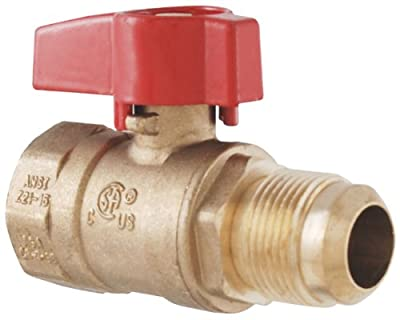 LDR 509 1743 Brass Gas Ball Valve, Flare, Heavy Duty, 3/4-Inch FIP X 15/16-Inch by LDR