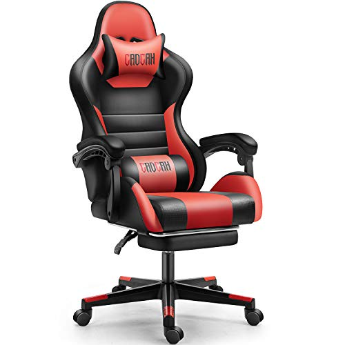 Cadcah Gaming Chair Ergonomic Office Chair High Back Desk Chair Reclining Computer Chair with Footrest Adjustable Swivel Task Chair Support Gaming Chair for Adults/Men/Women