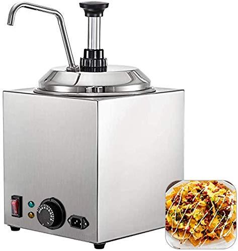 Wxnnx Calentador de Chocolate Caliente Comercial, dispensador de Bomba de Calentador de Salsa de Queso Nacho, Calentador de Queso de Acero Inoxidable de 650 W