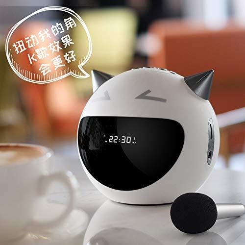 Ronshin M8 Mini-luidspreker, draagbaar, draadloos, met microfoon, FM, karaoke, wit