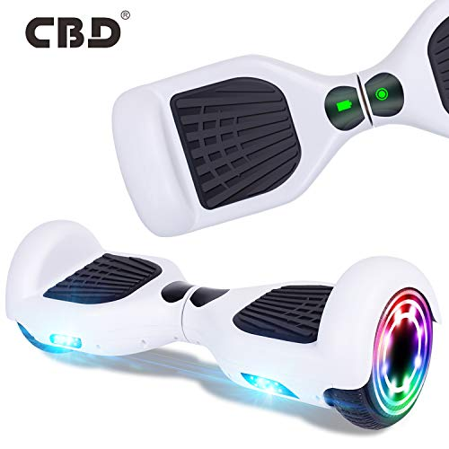 CBD Hoverboard for Kids, 6.5 Inch Two Wheel Hoverboard, Self Balancing Electric Scooter with LED Lights, UL2272 Certified (X-White)