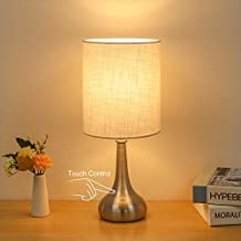 Boncoo Touch Control Table Lamp 3 Way Dimmable Simple Night Light Lamp with White Lampshade Metal Base, Small Bedside Table Lamp for Bedroom, Office, Dorm, A19 6W 2700K Bulb Included