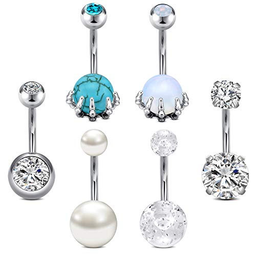 QWALIT Belly Button Rings Stainless Steel 14G Belly Ring Opal Pearl Marble Hypoallergenic Navel Piercings Jewelry for Women Girls 10mm Silver