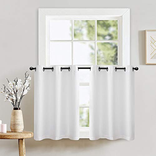Kitchen Tiers Curtains for Bedroom Casual Weave Textured Privacy Semi Sheer White Curtains for Bathroom Grommet Top 1 Pair 24