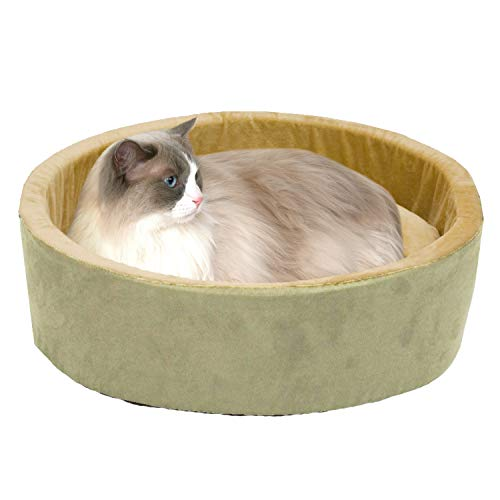K&H PET PRODUCTS Thermo-Kitty Heated Cat Bed Large 20 Inches Sage/Tan