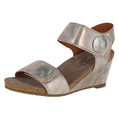Taos Footwear Women's Carousel 2 Silver Sandal 7-7.5 M US