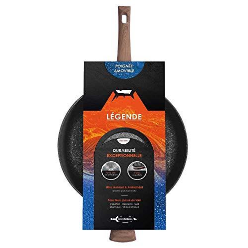 Poêle LÉGENDE par DURANDAL avec : manche amovible effet bois, rebord rehaussés, pour tous feux, diamètre 20, 24, 28 et 32 cm - 32 cm - Noir