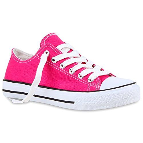 Sportliche Damen Sneakers Metallic Schnürer Sneaker Low Spitze Turn Blumen Denim Stoff Flats Schuhe 118960 Pink 36 Flandell