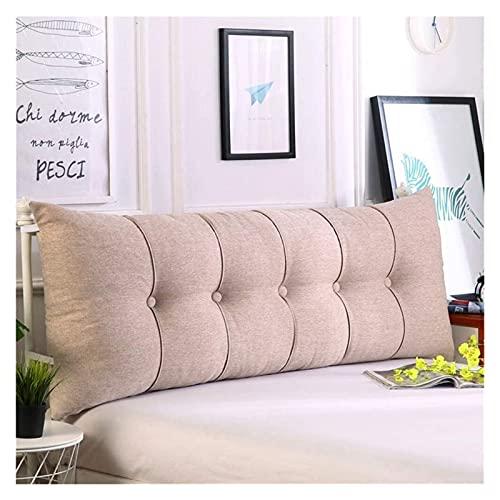 Leinen Sofa Daybed Kissen Wedge weiche Kopfkissen Bedside Bed Zurück Positionierung Unterstützung Lendenkissen milchig weiß 180x60x20cm (Color : Khaki, Size : 200x60x20cm(79x24x8inch))