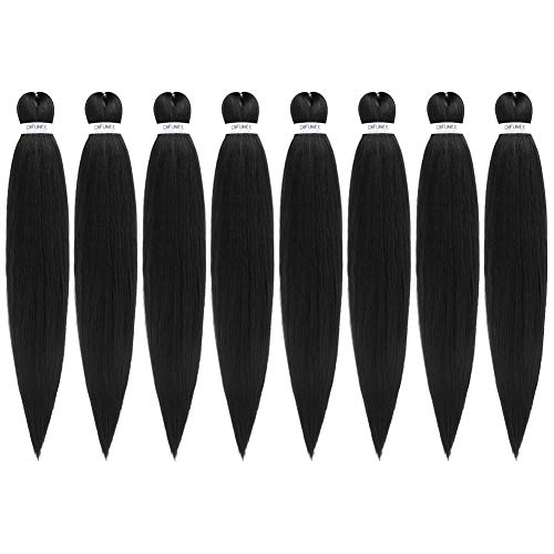 Pre-Stretched Braiding Hair Extensions Black - 24 inch 8 Packs...
