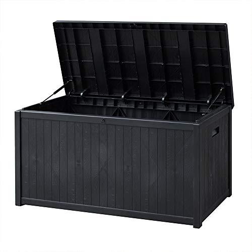 SUNVIVI OUTDOOR Outdoor Deck Storage Box, Patio Waterproof Storage Bin Outdoor Cushion Storage 120 Gallon (Black)