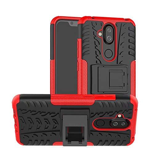 Jtailhne Compatible con Funda Nokia 7.1 Plus, RíGida Tire Pattern Doble Capa HíBrida Armor Kickstand a Prueba De Choques Carcasa Rojo & 2X Cristal Templados
