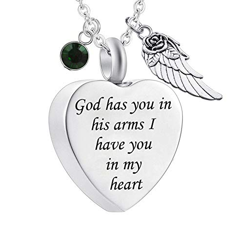 God has You in his arms with Angel Wing Charm Cremation Ashes Jewelry Keepsake Memorial Urn Necklace with Birthstone Crystal (May)