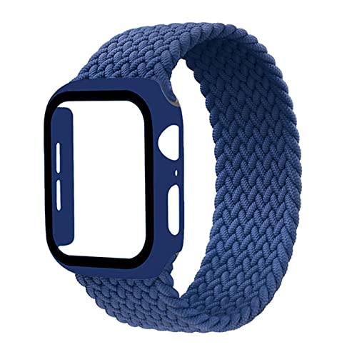 Lazo solo trenzado para Apple Watch Band 44 mm 40 mm 42 mm 38 mm 42 mm Pulsera de nailon elástico + Estuche para PC Serie iWatch 6 5 4 3 correa se