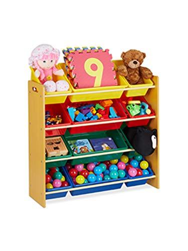 Relaxdays Kinderregal, mit 12 Aufbewahrungsboxen, Spielzeugregal für Jungen & Mädchen, HBT: 87,5 x 86 x 31 cm, bunt, 1 Stück