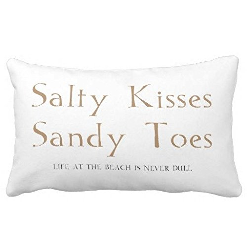 Standard Pillowcase Home Decorative Cushion Case Salty Kisses Sandy Toes Throw Pillow Cover 12x16 Inches